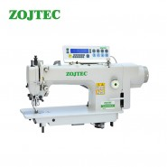 Direct drive computerized lockstitch sewing machine with top and bottom feed, auto trimmer (foot lifting by knee)